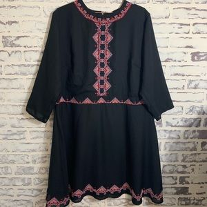 asos embroidered Black Dress Sz 18 Plus 3/4 Sleeve